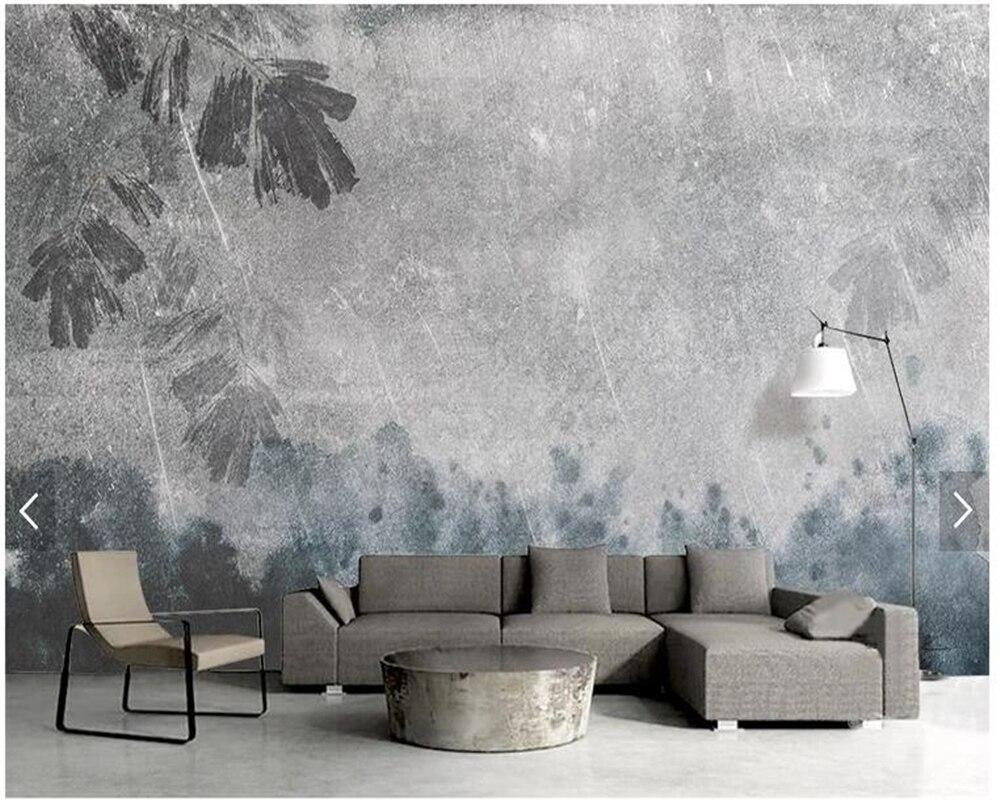 US $25.0 |Custom vintage wallpaper,watercolor texture ink leaf fresco for  living room bedroom sofa TV background wall home decor wallpaper-in ...