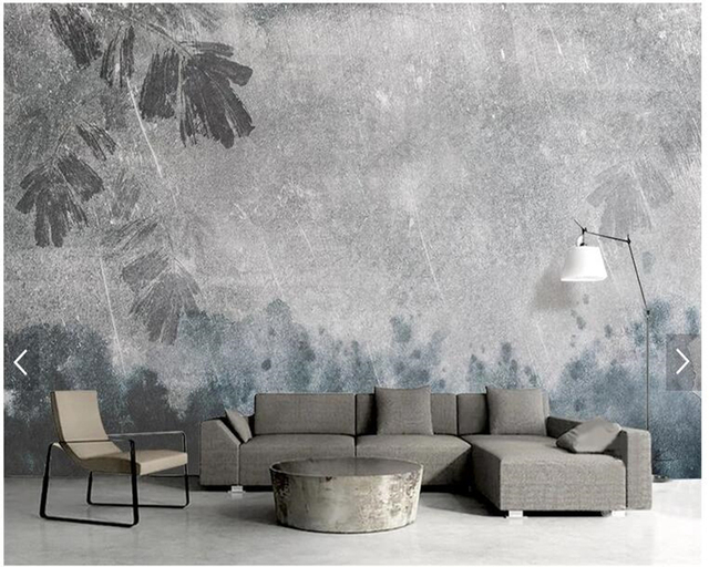 Custom Vintage Wallpaperwatercolor Texture Ink Leaf Fresco For Living Room Bedroom Sofa TV Background