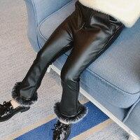 DFXD Crianças Inverno Meninas Leggings Pretas Nova Moda Grosso Fur Emendado Calças Quentes Do Bebê Coreano Menina Cothing Crianças Calças Compridas