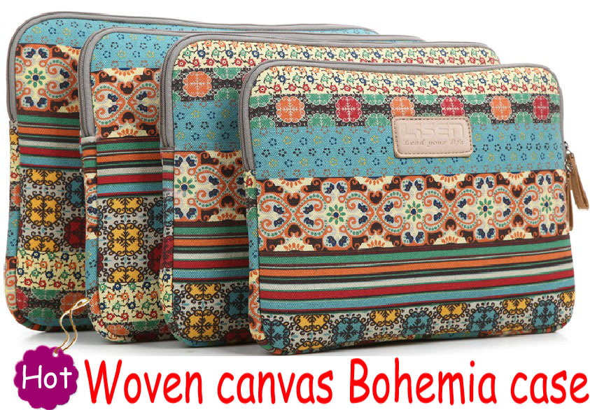Bohemia Woven Weave knit canvas 8 9 10 11 12 13 14 15 17 inch Fashion Shockproof laptop notebook sleeve case bag