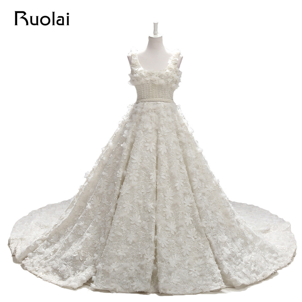 Real Photo Luxury Wedding Dresses Long Full Pears Beaded Ball Gown Bridal Dress Court Train Flowers Robe de Mariage 2019 WS41