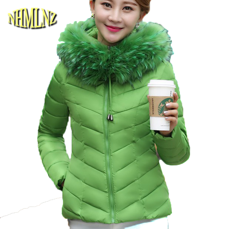 Winter New Fashion Women Cotton Jacket Heavy hair collar Thickening Hooded Warm Coats Big yards Elegant Slim Short Coat G1890 big yards for women s shoes in the fall and winter of 2016 high thickening bottom anti slip with warm confined new fashion shoes
