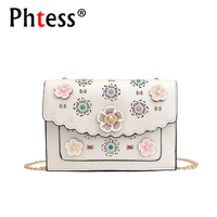 2018 Summer Appliques Flowers Messenger Bags For Girls Sac A Main Female Leather Shoulder Corssbody Bags