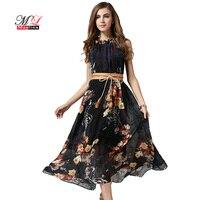 MLinina Summer Chiffon Dress Women 2019 Print Floral Long Dress Elegant Sleeveless O Neck Boho Beach Dresses Vestidos Clothing