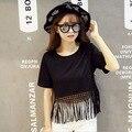 Borla t - shirt para meninas adolescentes moda adolescente de manga curta de algodão preto branco street wear idade 8 9 10 11 12 14 15 13 16 anos