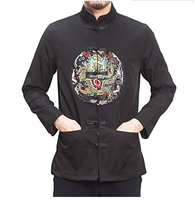 Asia suits Chinese clothing Chinese style dragon embroidery robe coat retro button Tang suit collar coat men's youth