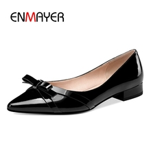 ENMAYER Flats Shoes Woman Pointed Toe Size 33-40 Casual Ballet 2018 Spring Autumn Bowtie Leather CR1351