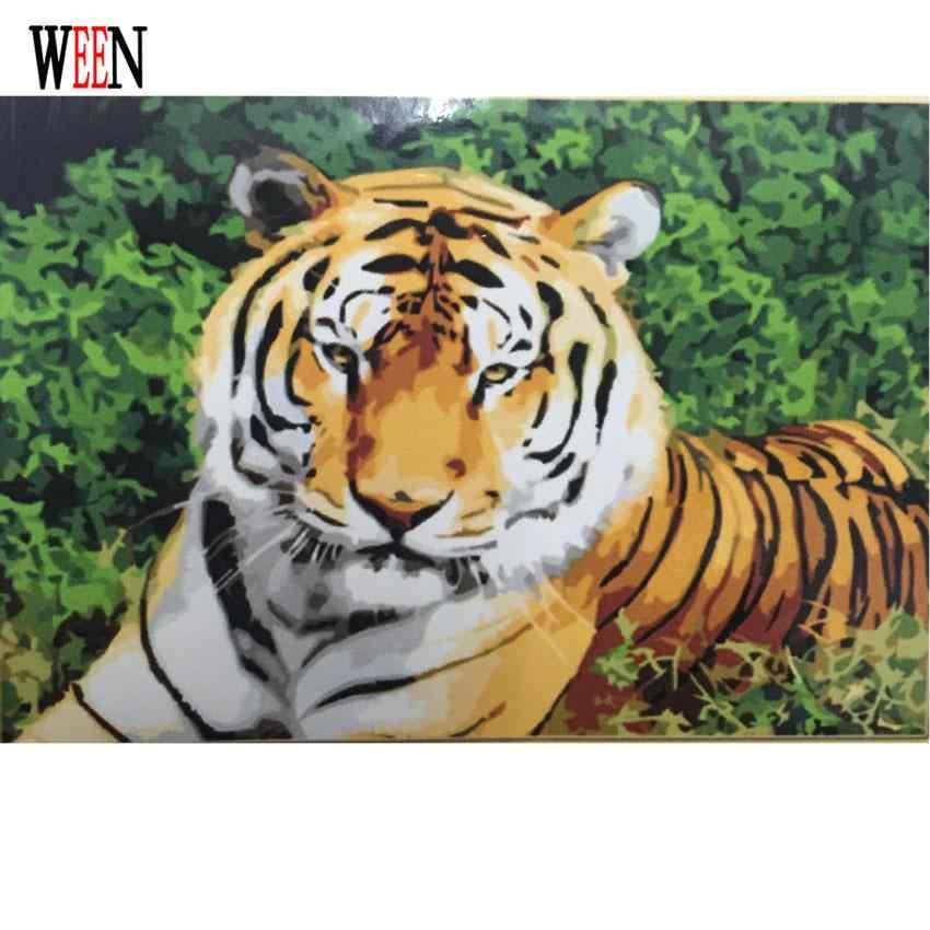 WEEN Tiger Lukisan Dengan Angka DIY Hewan Dinding Gambar Mewarnai dengan Nomor Kanvas Seni Untuk Ruang Tamu Wall Art Unik hadiah