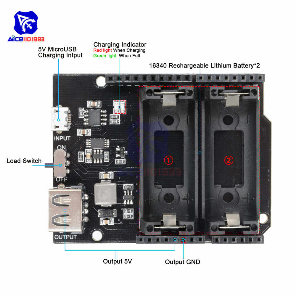ESP8266 ESP32 Power Supply Rechargeable Dual 16340 Lithium Battery Charger Shield Module for Arduino UNO R3 Board Power Bank