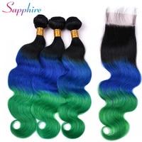 Сапфировые волосы бразильские прямые волосы 3 пучка Омбре человеческие волосы плетение с 4*4 Кружева Закрытие 100% remy волосы TB/синий/зеленый