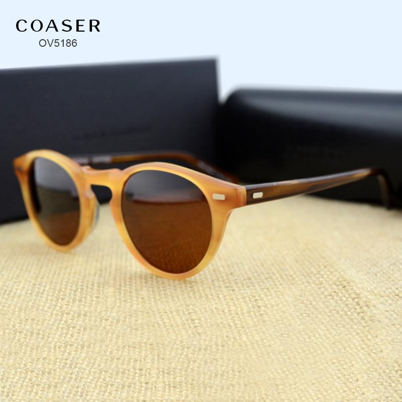 COASER OV5186 Round Acetate Eyeglasses Frame Polarized Sunglasses ...