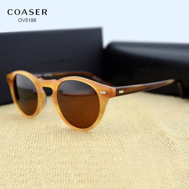 COASER OV5186 Round Acetate Eyeglasses Frame Polarized Sunglasses Men Women Brand Designer Vintage Gafas De Sol Sun Glasses
