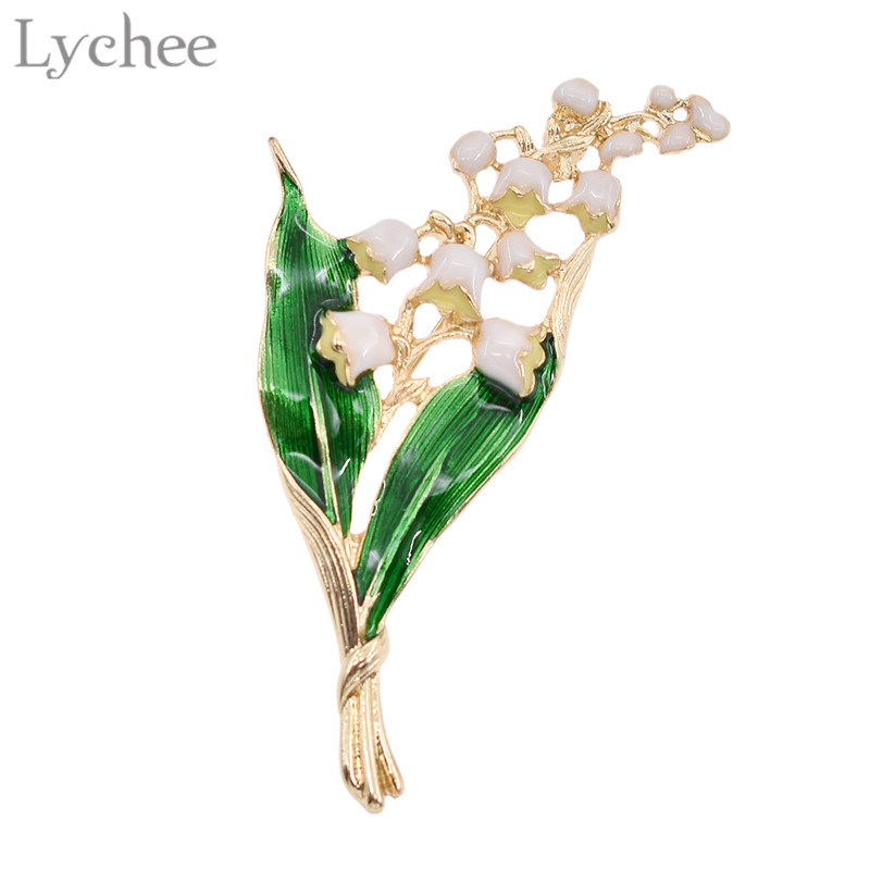 Lychee Trendy Alloy Enamel White Floral Leaf Brooch Lily of The Valley Gold Color Brooch Pin