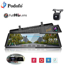 Podofo 10″ Car DVRS Camera Touch Screen Dash Cam FHD 1080P Dual Lens Registrator Night Vision Video Recorder Rearview Mirror DVR
