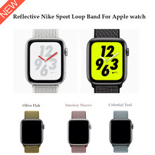Reflective 2018 Nylon Sport Loop band for Apple Watch Nike Series 4 44mm 40mm strap watchband for iWatch 42mm 38mm Series 4 3 2(China)