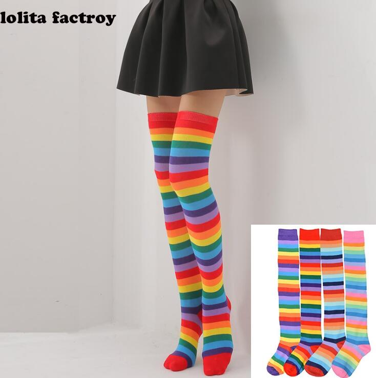 Pastel Rainbow Thigh Highs 1