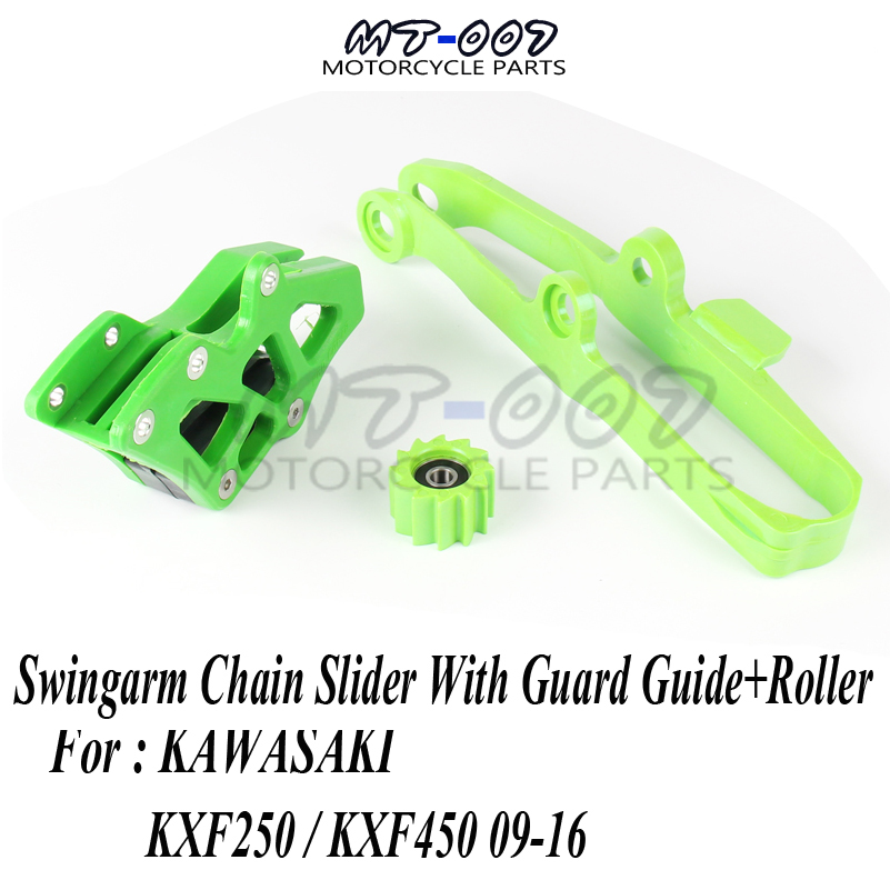 Swingarm Chain Slider With Guard Guide+Roller for KXF KX250F KX450F 09-16 Dirt Bike Off Road Motocross Motorcycle Free Shipping cnc alloy billet flexable brake pedal for kx250f 04 13 motorcycle off road motocross dirt bike free shipping