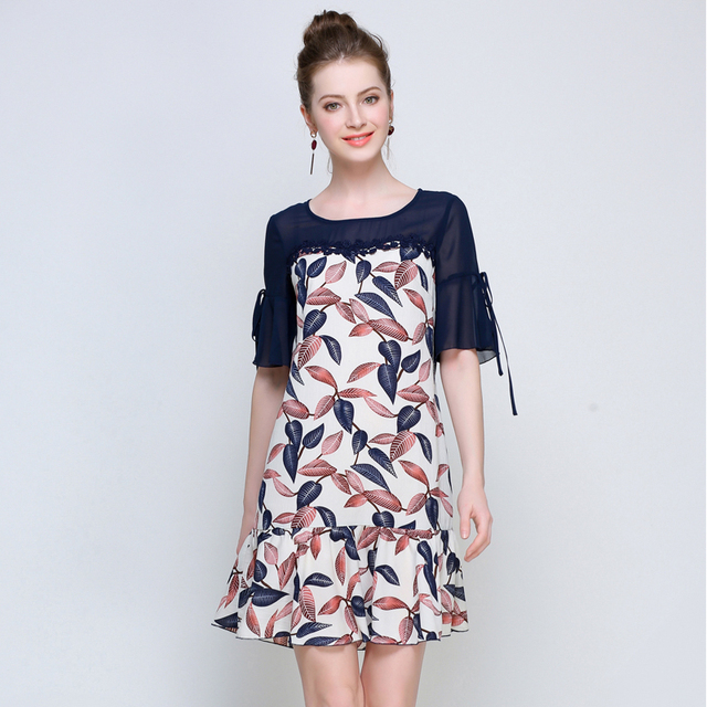 5xl woman summer dress plus size chiffon fashion flower print brand flare  sleeve summer dresses extra large lady vintage dress 4fbb91b4b0dc