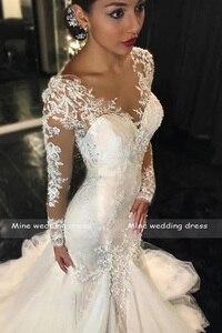Image 2 - Meerjungfrau Hochzeit Kleider 2019 Robe de Mariee Braut Kleid Scoop Neck Spitze Appliqued Brautkleid Lange Ärmel Braut