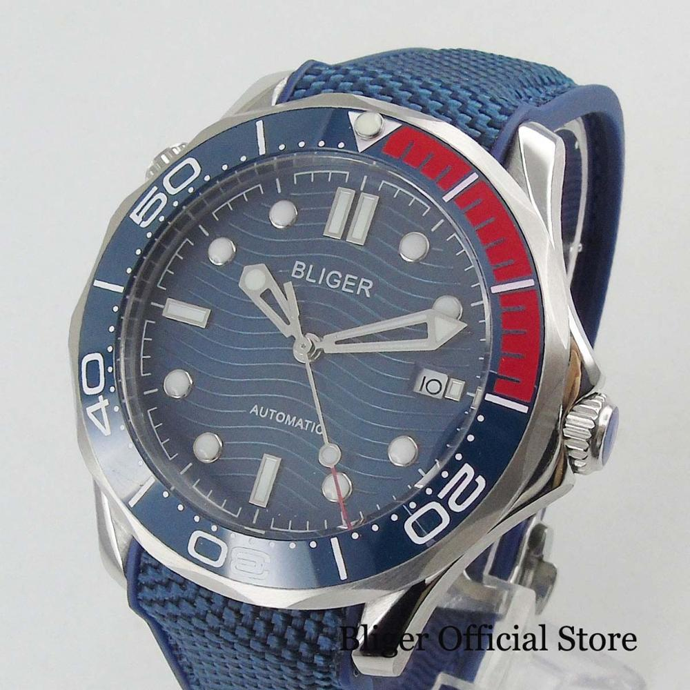 Military Style 41mm Blue Dial With Date Window Automatic Movement Men's Watch Rubber Strap