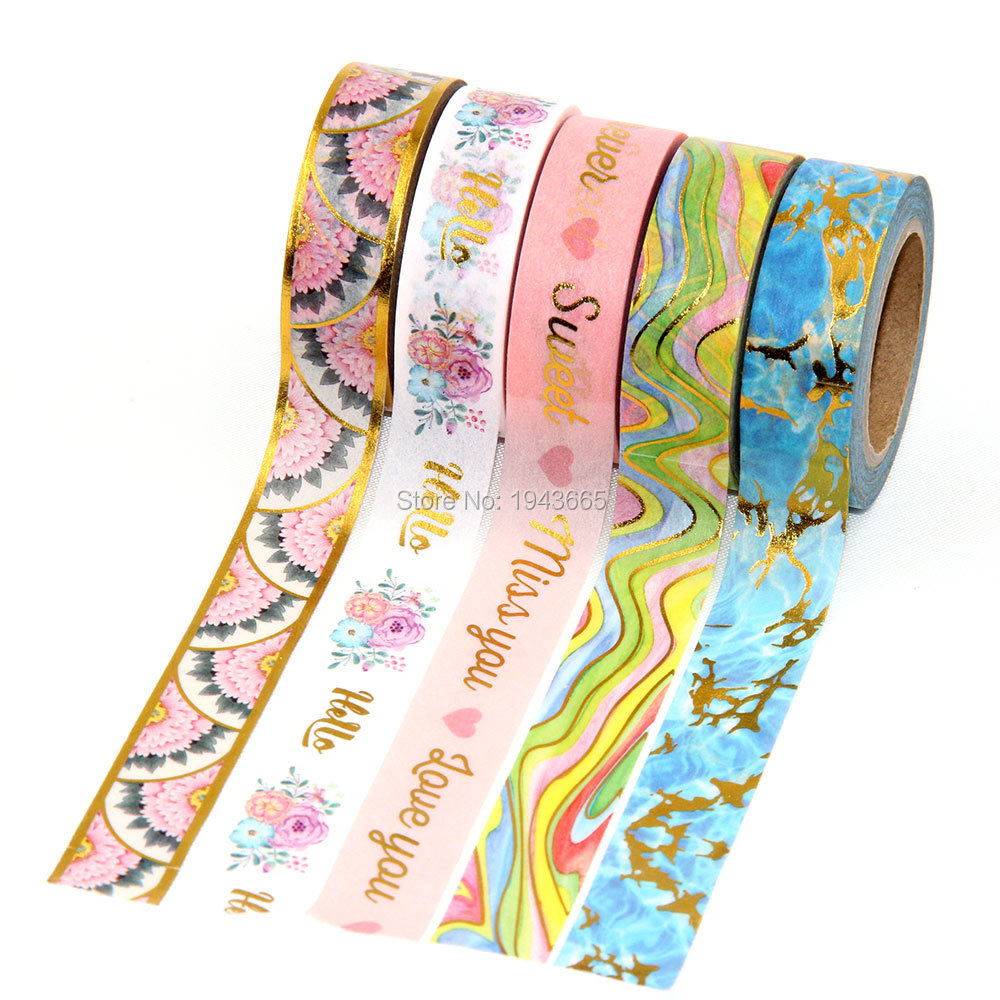 New 1pcs Foil Washi Tape Japanese Stationery 1.5*10meter Kawaii Scrapbooking Tools Masking Tape Adhesiva Decorativa Mixed Color new 10 1