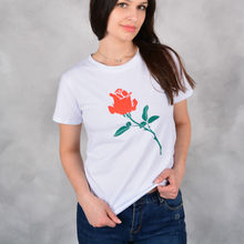 Women Floral Print T Shirt Vintage Red Rose Tees O Neck Short Sleeve Shirts Blusa Feminina Casual Slim Brand Tops(China)