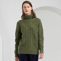 Толстый свитер с высоким воротом теплые Для женщин свитер 2018 Новый Для женщин свитера и пуловеры ребра вязать 100% кашемировый свитер зеленый