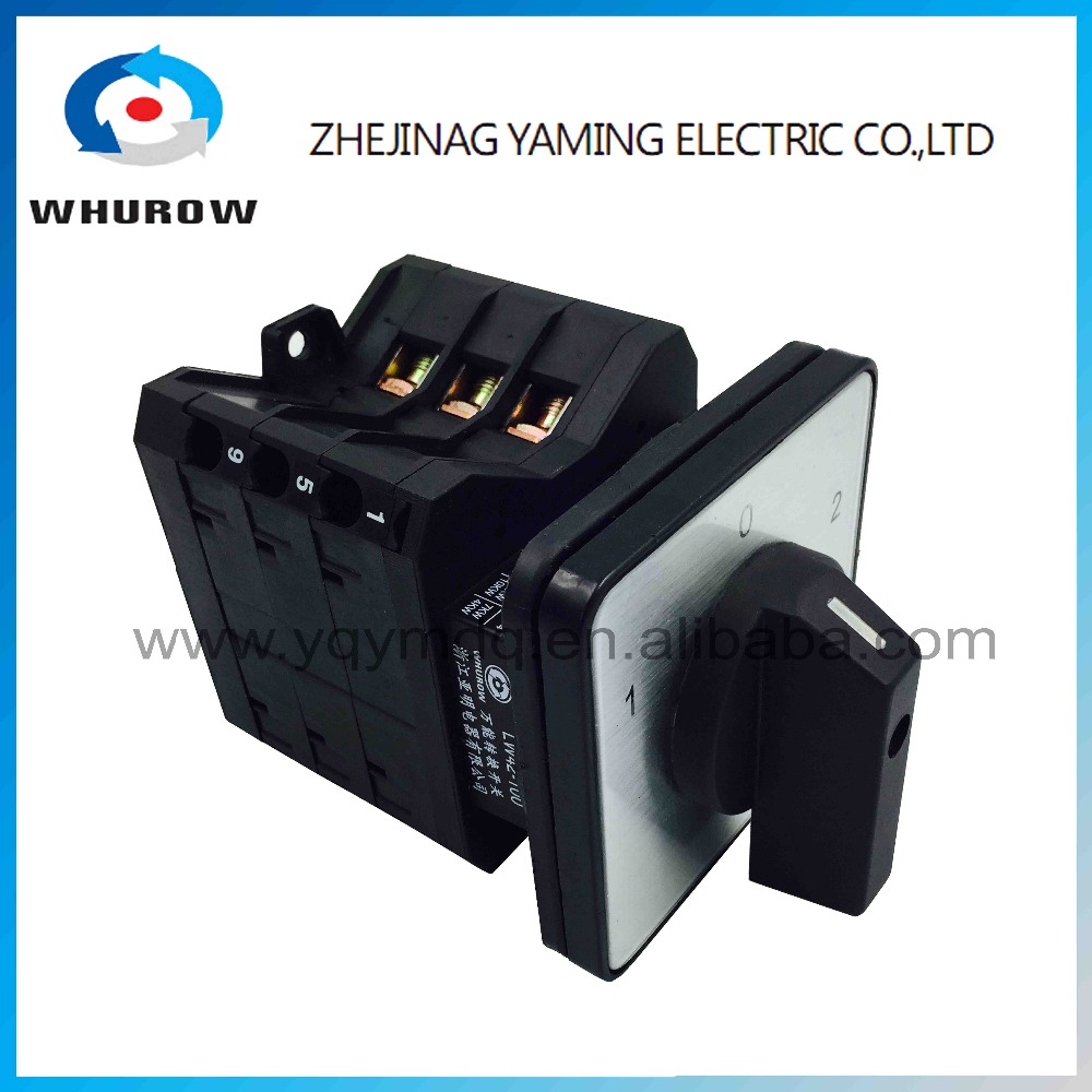 Rotary switch knob plastic YMW42-100/3 black universal changeover cam switch 3 position 3 poles 100A 12 terminal manual switch load circuit breaker switch ac ui 660v ith 100a on off 3 poles 3 phases 3no 2 position universal rotary cam changeover switch