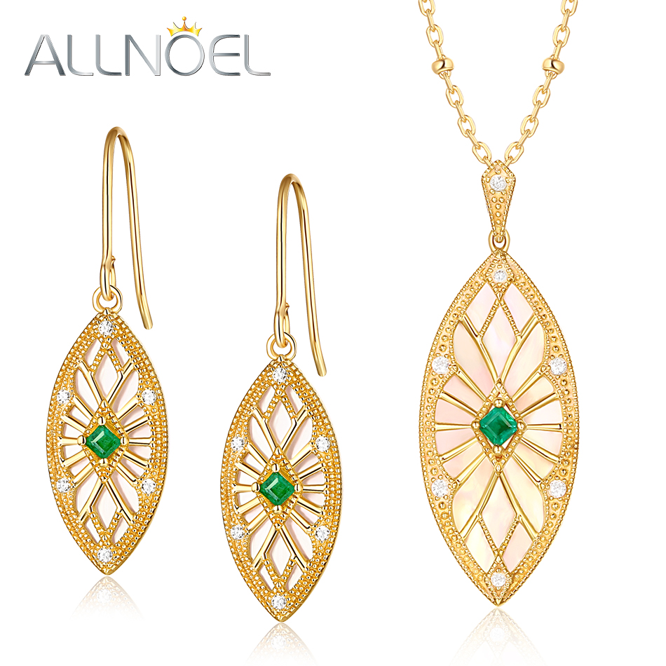 ALLNOEL FIne Jewelry Set 925 Sterling Silver Natural emerald Pendant Necklace Earrings Ring Set Valentine s