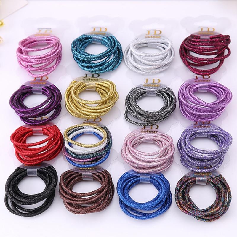 Korean 2018 New 10PCS/Pack Simple Solid Shining Elastic Hair Bands Rope Sets Women Girls Kids Hair Tie   Headwear   Hair Accessories