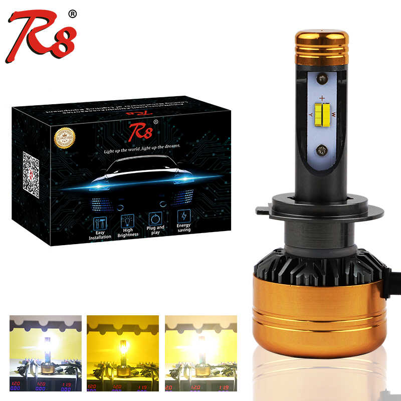 R8 Tricolor Motorcycle LED Headlight Bulb H7 50W 5800LM Three Colors Headlight White Yellow Dual Colors 3000K 4300K 6500K DC 12V