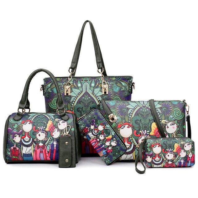 PU Forest Green Composite Crossbody bags Girl Handbag Women Shoulder Bags Wallet Key Bag As Gift For Travel