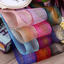 100yards 25/38/70mm stripes rainbow korean organza sheer ribbon for wedding party supplies handcraft hair bow accessories