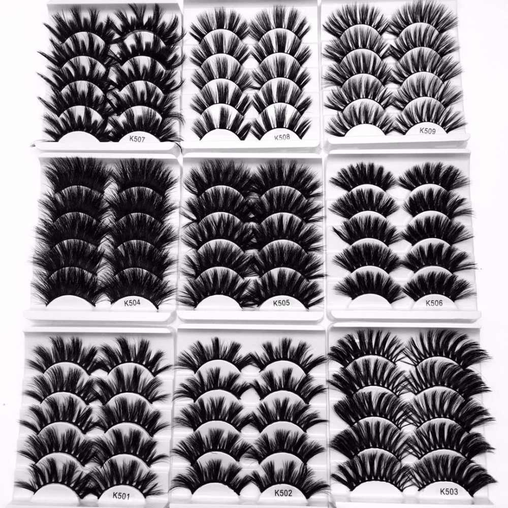 Новое предложение, партиями по 3/5/7 пар 3D из меха норки накладные ресницы крест-накрест тонкими перекрестными пушистый 22 мм-25 мм наращивание ресниц, ручная раобота, инструменты для макияжа