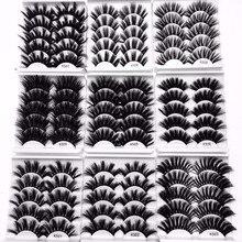 חדש 5 זוגות 3D מינק שיער שני וערב דליל צלב פלאפי 22mm 25mm ריסים הארכת בעבודת יד עין איפור כלים