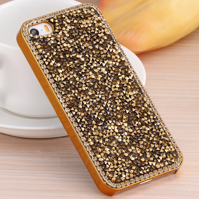 For iPhone 5 5S SE 6 6S Plus Cases Plating Hard Platic Full Diamond Rhinestone Back Cover Coque For Samsung Galaxy S5 S6 S6 Edge