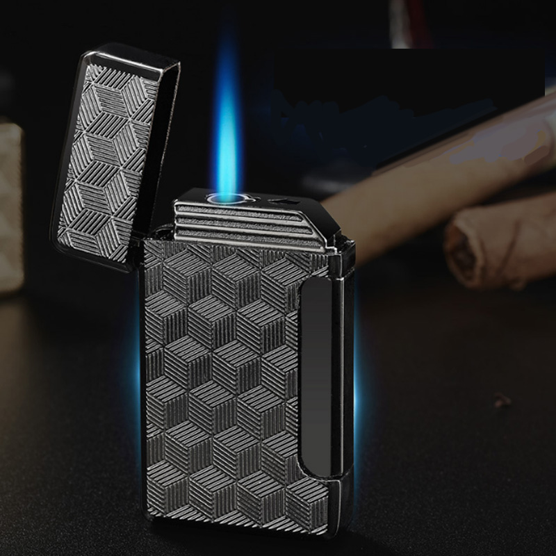 New Turbo Jet Lighter Compact Butane Torch Metal Lighters Cigarette Accessories Gas 1300 C Windproof Petrol Ping Sound Lighter end table