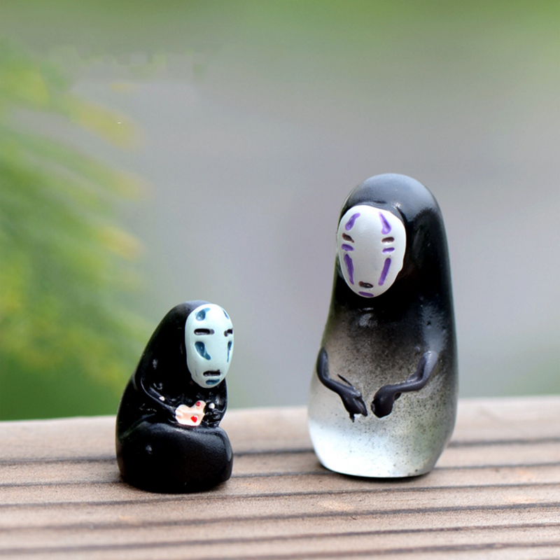 2pcs/set new cute No face man Cartoon Anime <font><b>Spirited</b></font> <font><b>Away</b></font> Action <font><b>Figure</b></font> DIY Models Doll Collection Kid Toys Gift image