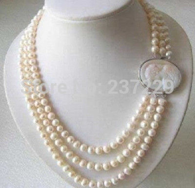 Wholesale price  SHIPPING ^^^Genuine 3 Rows 7-8MM Freshwater pearl Necklace Cameo Clasp