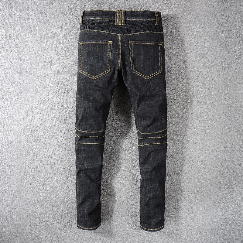 Sokotoo mannen black biker jeans voor motorfiets Plus big size geplooide stretch denim broek Hoge kwaliteit-in Spijkerbroek van Mannenkleding op  Groep 2