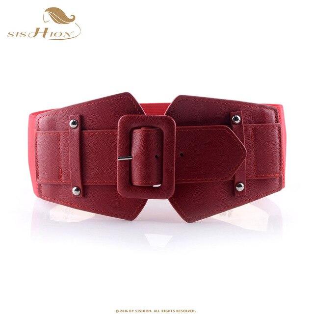 SISHION Vintage Wide Belts for Women Famous Brand Designer Elastic Party Belts Women's Red Camel Black Costume Belts VB0007 10