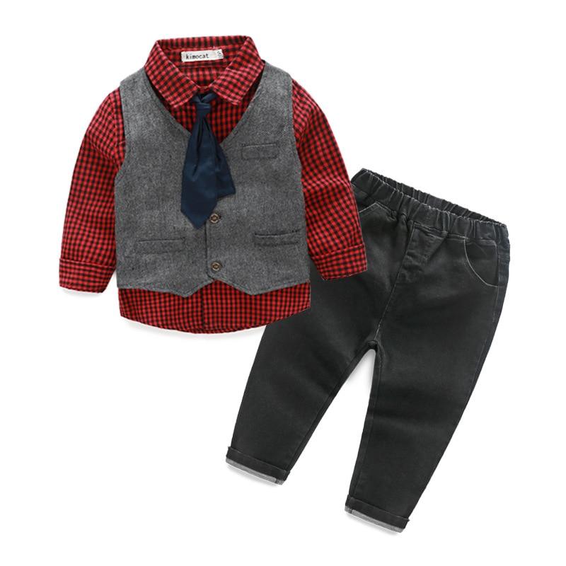 2017 Autumn boys long sleeve cotton tie plaid red shirts vest jeans suit fashion kids casual clothes gentleman party wear 17S709