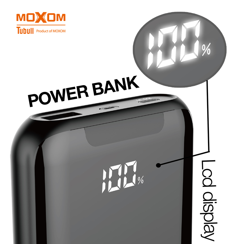 MOXOM 10000mAh Power Bank Portable Charging Powerbank <font><b>10000</b></font> Slim Poverbank External Battery Pack Charger For Xiaomi Mi 9 iPhone image