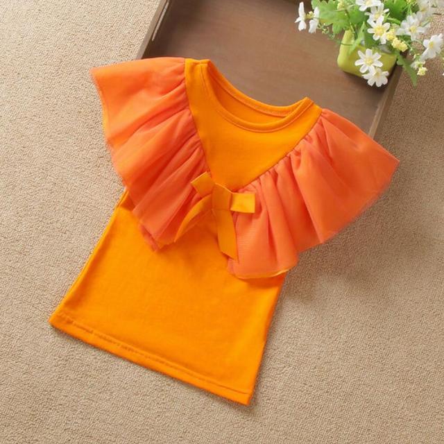 2018 Summer Baby Toddler Teen Children Girls Blouse White Yellow Ruffles Short Sleeve Girl Tops Blouses Shirts For Kids JW3824