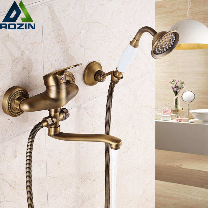 Bathroom Mixer 16/20/25 cm Brass Long Nose outlet shower faucet Single Handle Wall Mounted Bathtub Sink Faucet Taps frap new arrival single handle bathroom mixer 35cm stainless steel long nose outlet brass shower faucet f2281