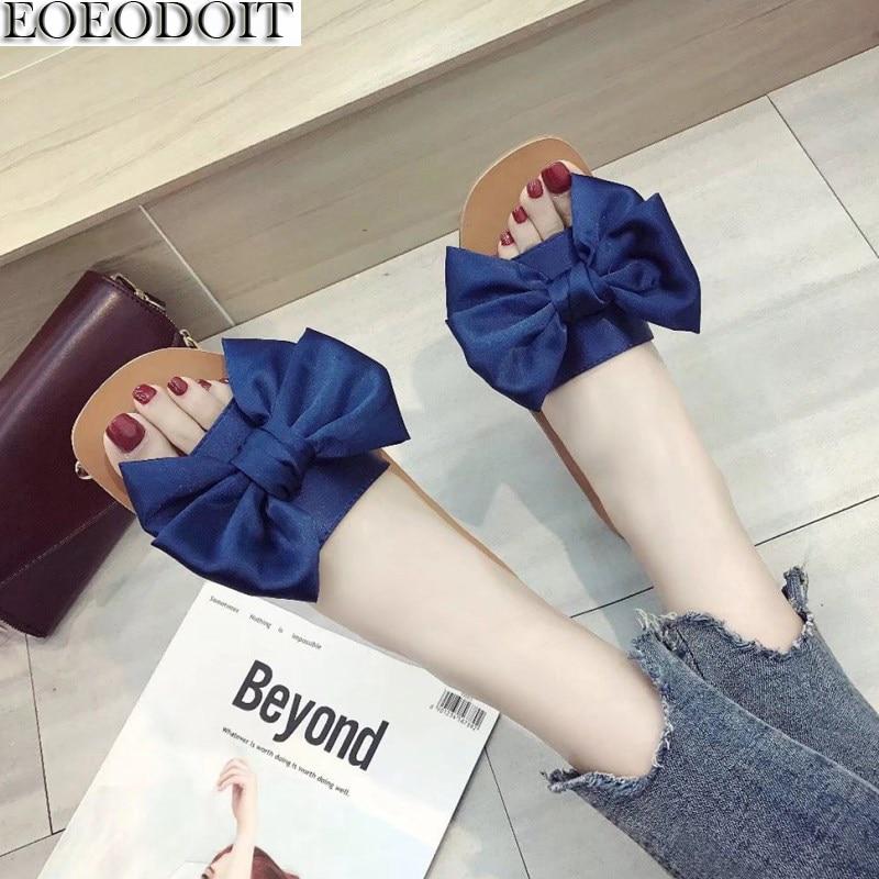 EOEODOIT Для женщин тапочки пляжная обувь с открытым носком слипоны плоская подошва Лето Прозрачные босоножки с большой бант