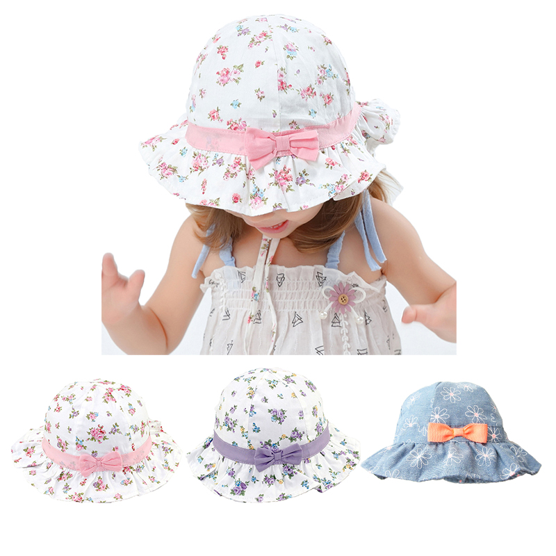 Aliexpress.com : Buy Floral Baby Girl Hat for Girls Sun ...