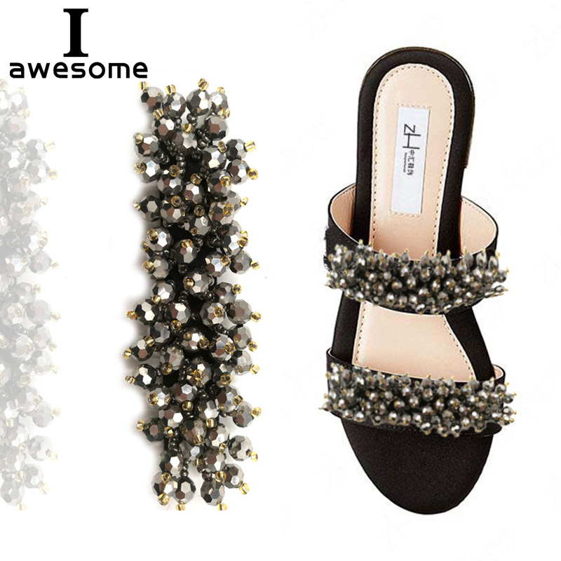 Shining Beading Bridal Wedding Party Shoes Accessories For High Heels Sandals Boots Manual Rhinestone Decorations Shoe's Flower