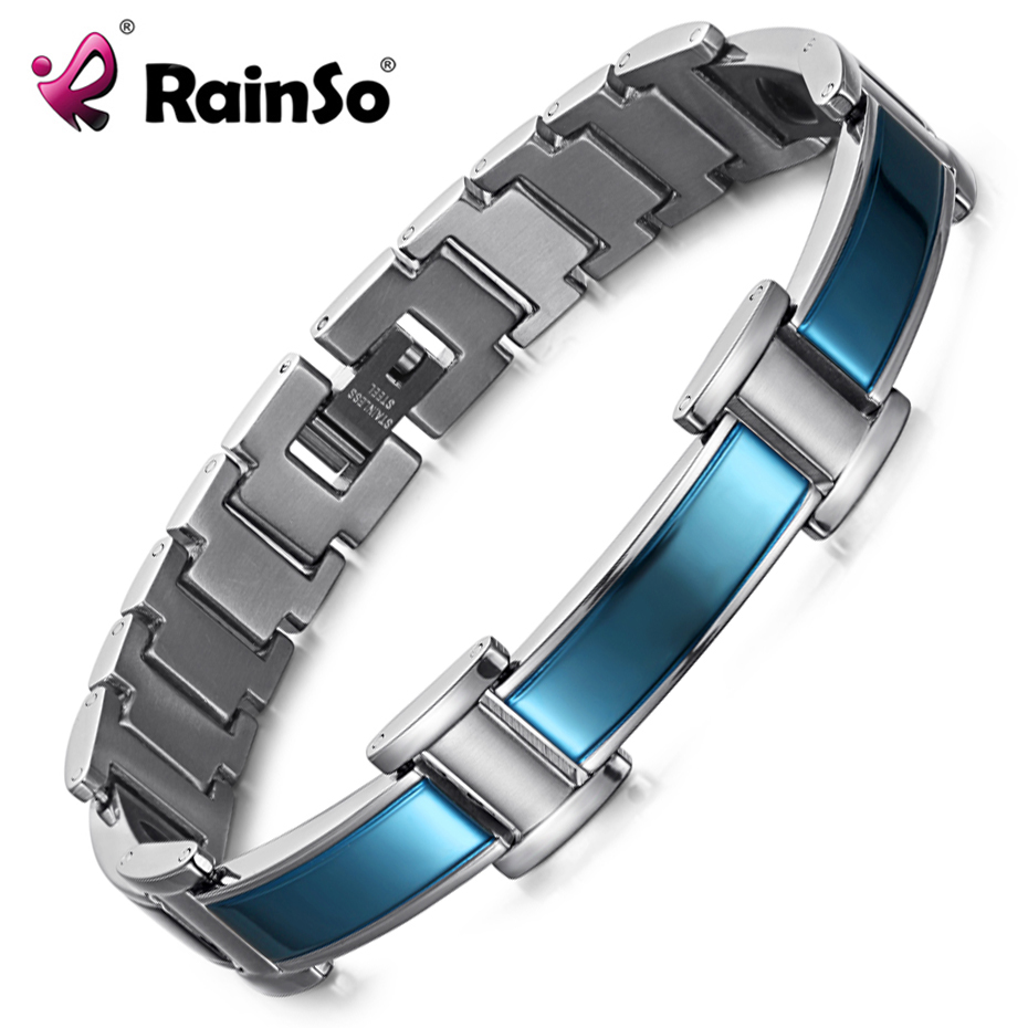 RainSo Mens Stainless Steel Bracelets Fashion Blue Plated Color with Health Elements Business Casual Man Bracelet
