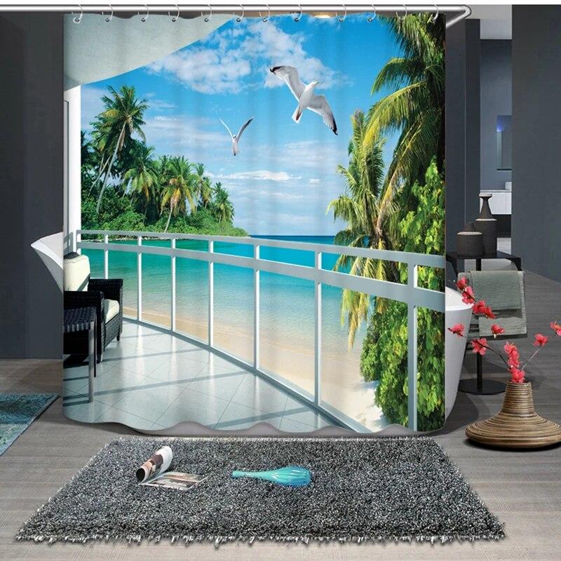 senfairy hon 3d rideaux de douche bord de mer sable plage paysage modele rideau de bain tissus impermeables salle de bain rideaux produits